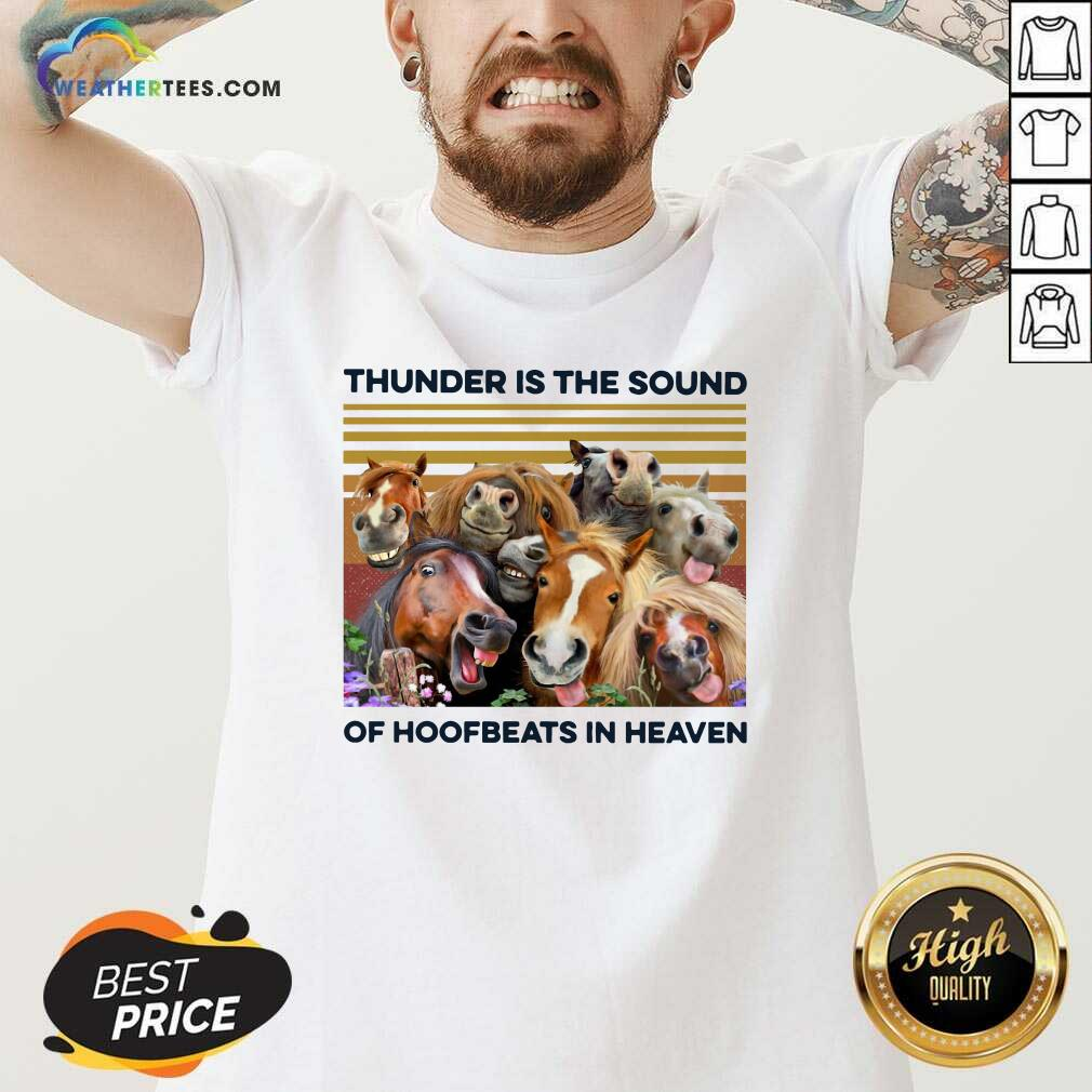 Horses Thunder Is The Sound Of Hoofbeats In Heaven Vintage Retro V-neck - Design By Weathertees.com