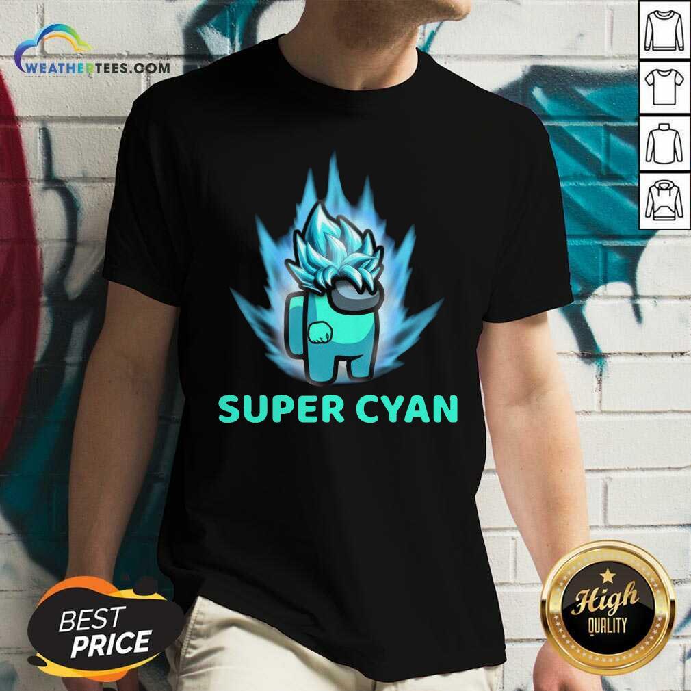 Imposter Among Us Super Cyan V-neck - Design By Weathertees.com