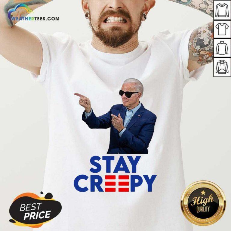 Joe Biden Stay Creepy V-neck - Design By Weathertees.com