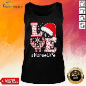 Love Hat Santa And Reindeer #Nurselife Ugly Christmas Tank Top - Design By Weathertees.com
