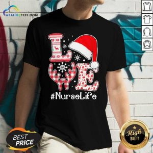 Love Hat Santa And Reindeer #Nurselife Ugly Christmas V-neck - Design By Weathertees.com