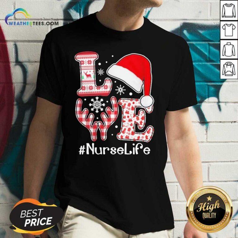 Love Hat Santa And Reindeer #Nurselife Ugly Christmas V-neck - Design By Weathertees.com
