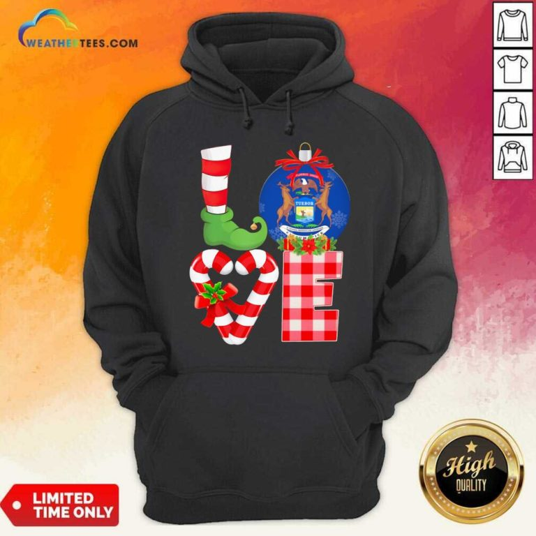 Love Michigan State Flag Pajama Elf Merry Christmas Hoodie - Design By Weathertees.com