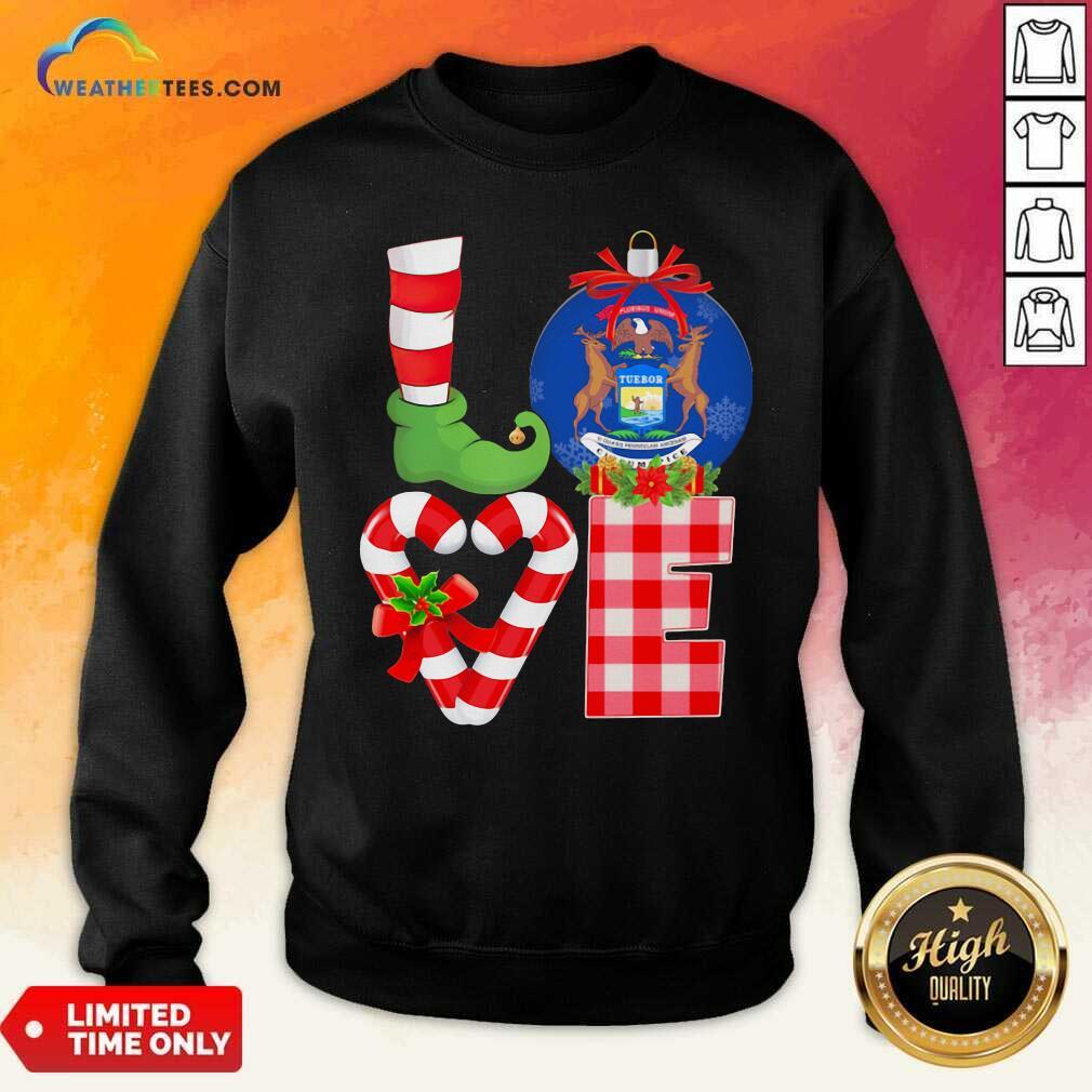 Love Michigan State Flag Pajama Elf Merry Christmas Sweatshirt - Design By Weathertees.com