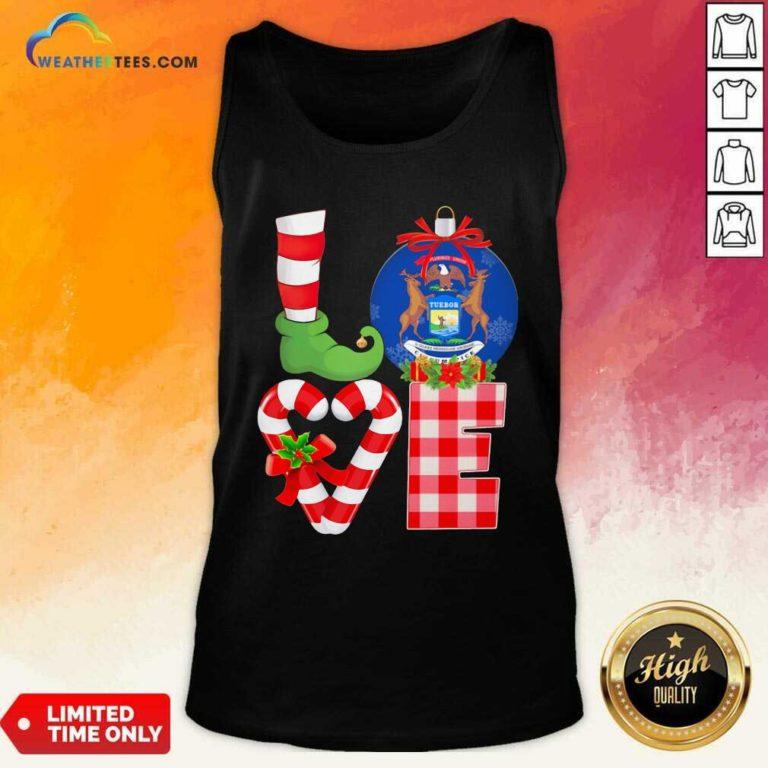 Love Michigan State Flag Pajama Elf Merry Christmas Tank Top - Design By Weathertees.com