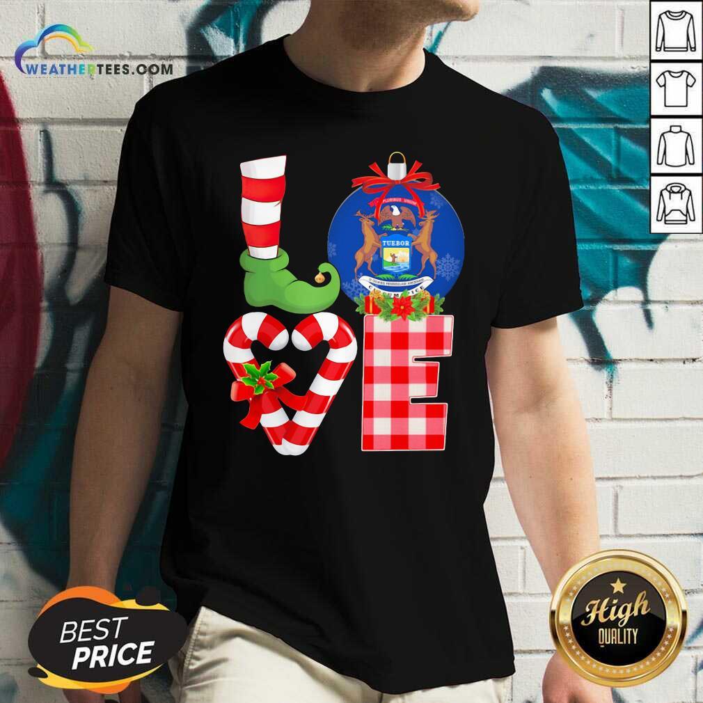 Love Michigan State Flag Pajama Elf Merry Christmas V-neck - Design By Weathertees.com