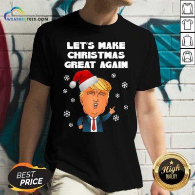 Santa Donald Trump Let's Make Christmas Great Again V-neck - Design By Weathertees.com