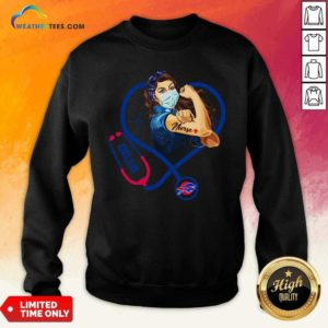 Strong Women Face Mask Tattoo Nurse Buffalo Bills Heartbeat Sweatshirt - Design By Weathertees.com
