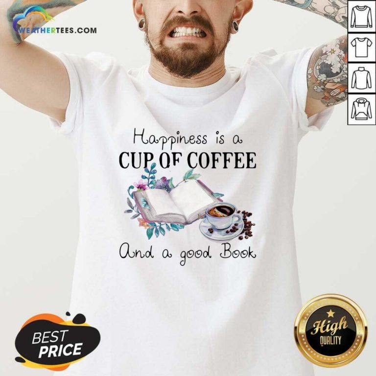 Happiness Is A Cup Of Coffee And A Good Book V-neck - Design By Weathertees.com
