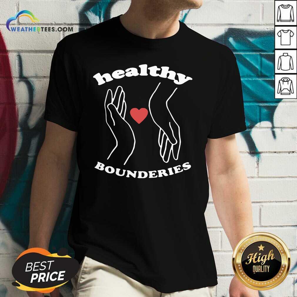 Healthy Boundaries Hand Heart V-neck - Design By Weathertees.com