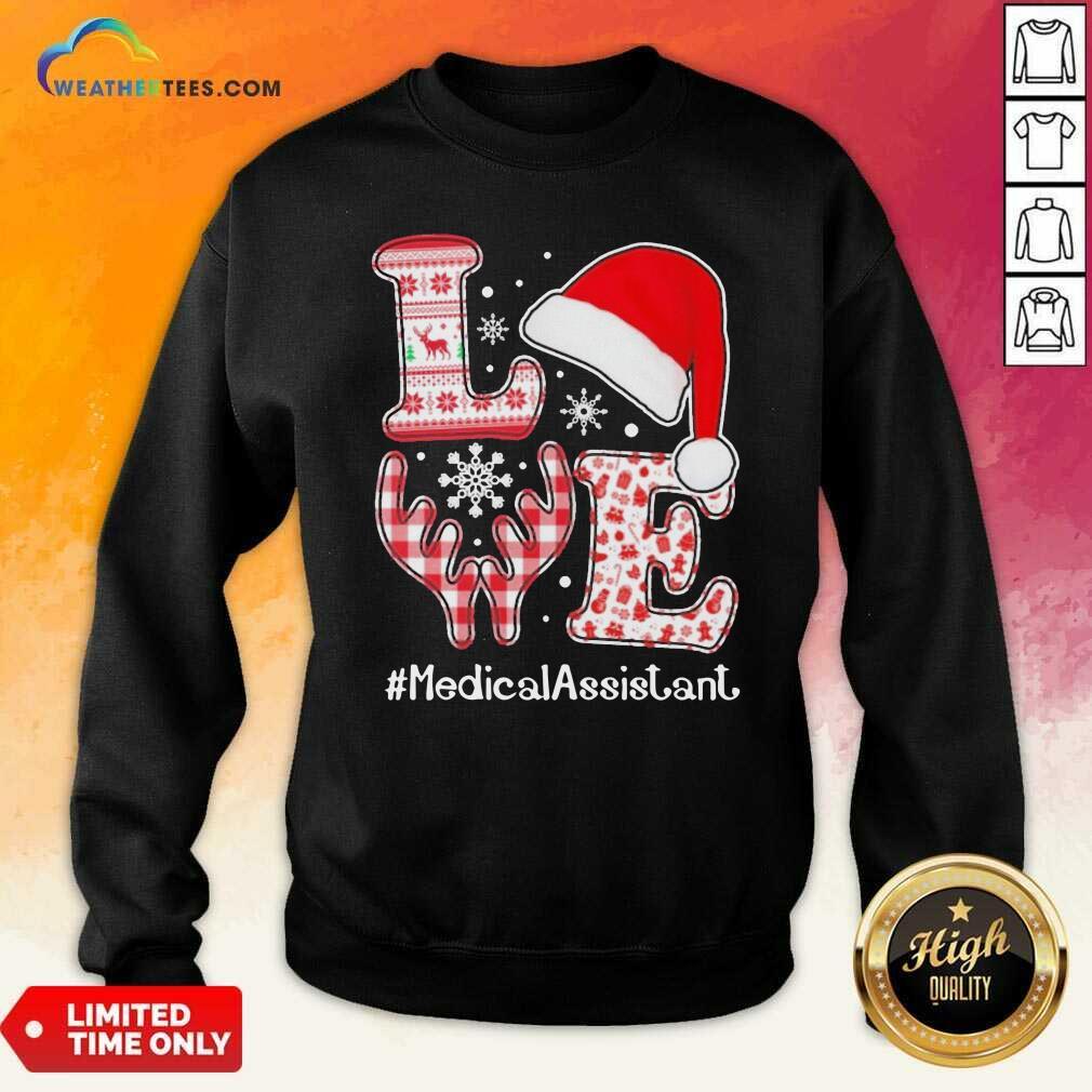 Love Hat Santa And Reindeer #Medica Assistant Nurse Worker Ugly Christmas Sweatshirt - Design By Weathertees.com
