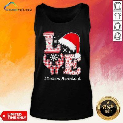 Love Hat Santa And Reindeer #Medica Assistant Nurse Worker Ugly Christmas Tank Top - Design By Weathertees.com