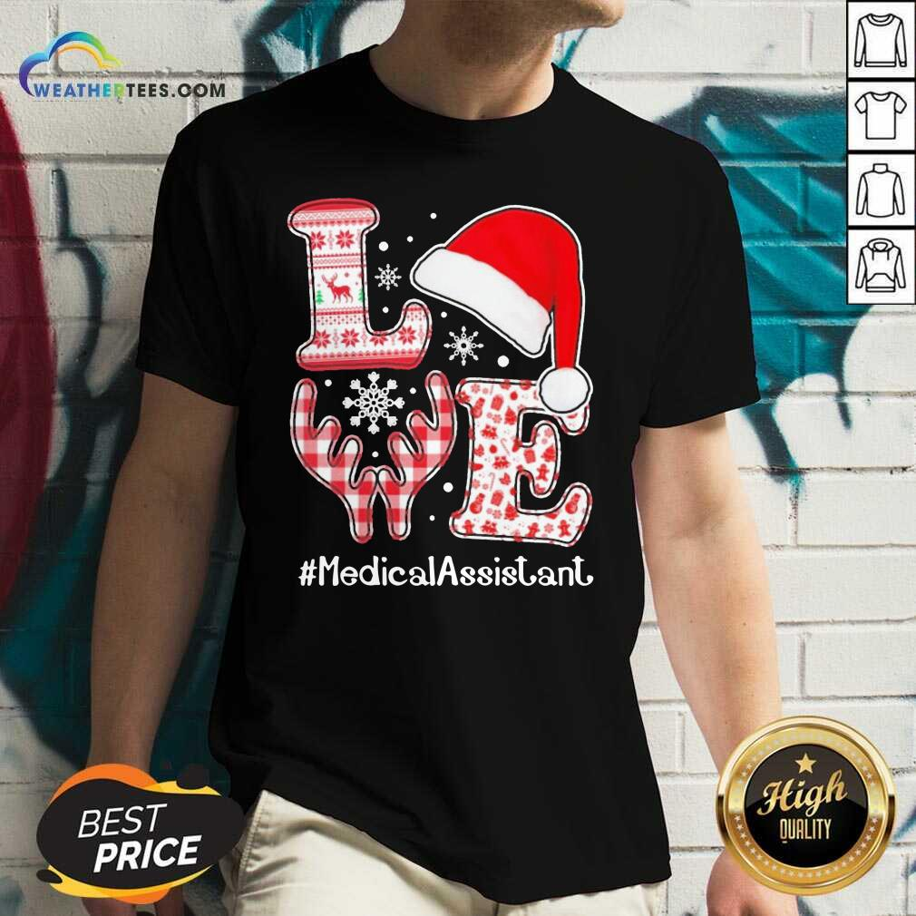 Love Hat Santa And Reindeer #Medica Assistant Nurse Worker Ugly Christmas V-neck - Design By Weathertees.com