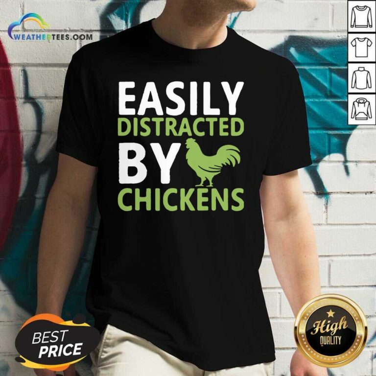 Easily Distracted By Chickens V-neck - Design By Weathertees.com