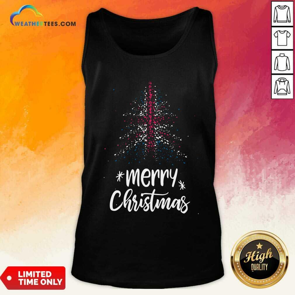 Tree England Flag Merry Christmas Tank Top - Design By Weathertees.com