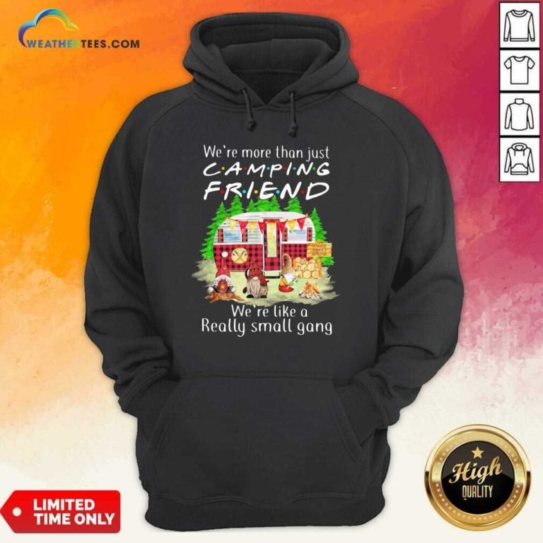 We're More Than Just Camping Friend We're Like A Really Small Gang Gnome Xmas Hoodie - Design By Weathertees.com
