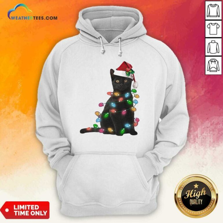 Black Cat Hat Santa Happy Light Christmas 2020 Hoodie - Design By Weathertees.com