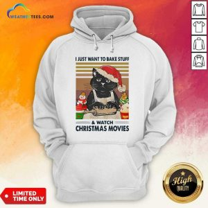 Black Cat I Just Want To Bake Stuff And Watch Christmas Movie Vintage Hoodie - Design By Weathertees.com