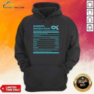 Warrior Cervical Cancer Nutrition Facts Cervical Cancer Awareness Hoodie - Design By Weathertees.com