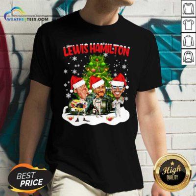 Lewis Hamilton Chibi Christmas Tree V-neck - Design By Weathertees.com