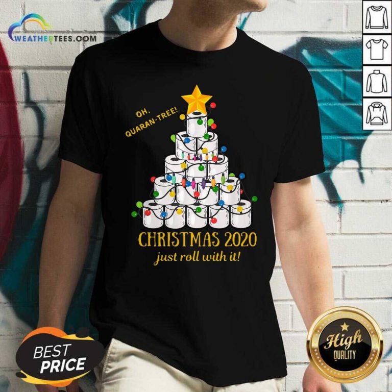Oh Quaran-tree Toilet Paper Christmas 2020 Just Roll With It Christmas V-neck - Design By Weathertees.com