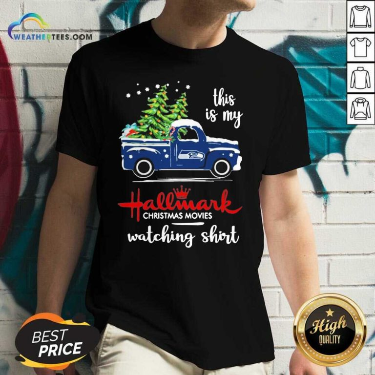 Seattle Seahawks This Is My Hallmark Christmas Movies Watching V-neck - Design By Weathertees.com