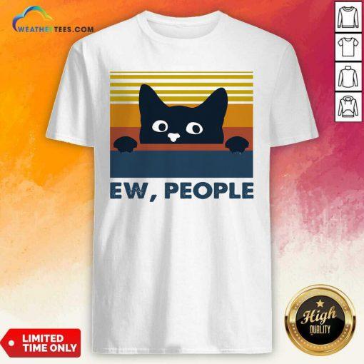 Black Cat Ew People Vintage Retro Shirt - Design By Weathertees.com