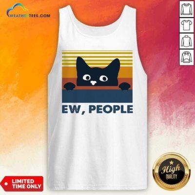 Black Cat Ew People Vintage Retro Tank Top - Design By Weathertees.com