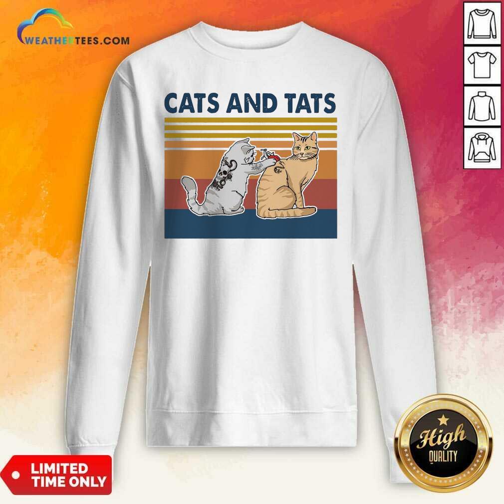 Cats And Tats Tattoo Vintage Retro Sweatshirt - Design By Weathertees.com
