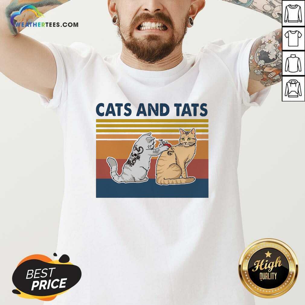 Cats And Tats Tattoo Vintage Retro V-neck - Design By Weathertees.com