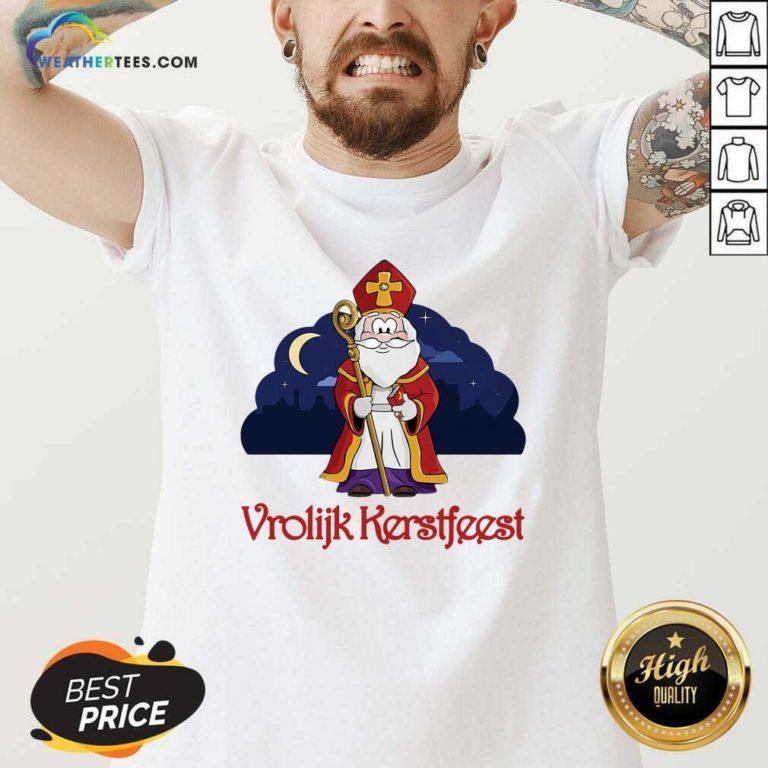 Dutch Vrolijk Kerstfeest V-neck - Design By Weathertees.com