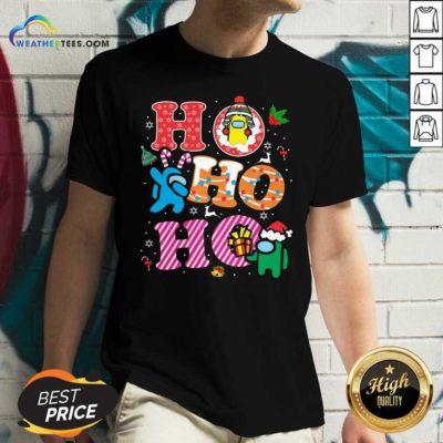 Imposter Among Us Ho Ho Ho Merry Christmas V-neck - Design By Weathertees.com