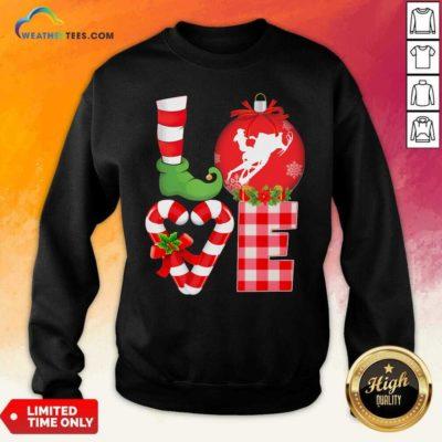 Love Snowboarding Pajama Elf Mery Christmas Sweatshirt - Design By Weathertees.com