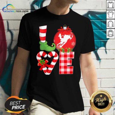 Love Snowboarding Pajama Elf Mery Christmas V-neck - Design By Weathertees.com