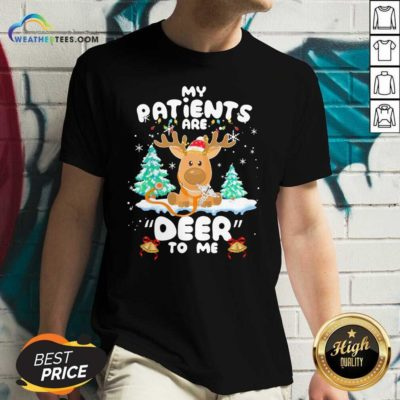 Reindeer My Patients Are Beer To Me Christmas V-neck - Design By Weathertees.com