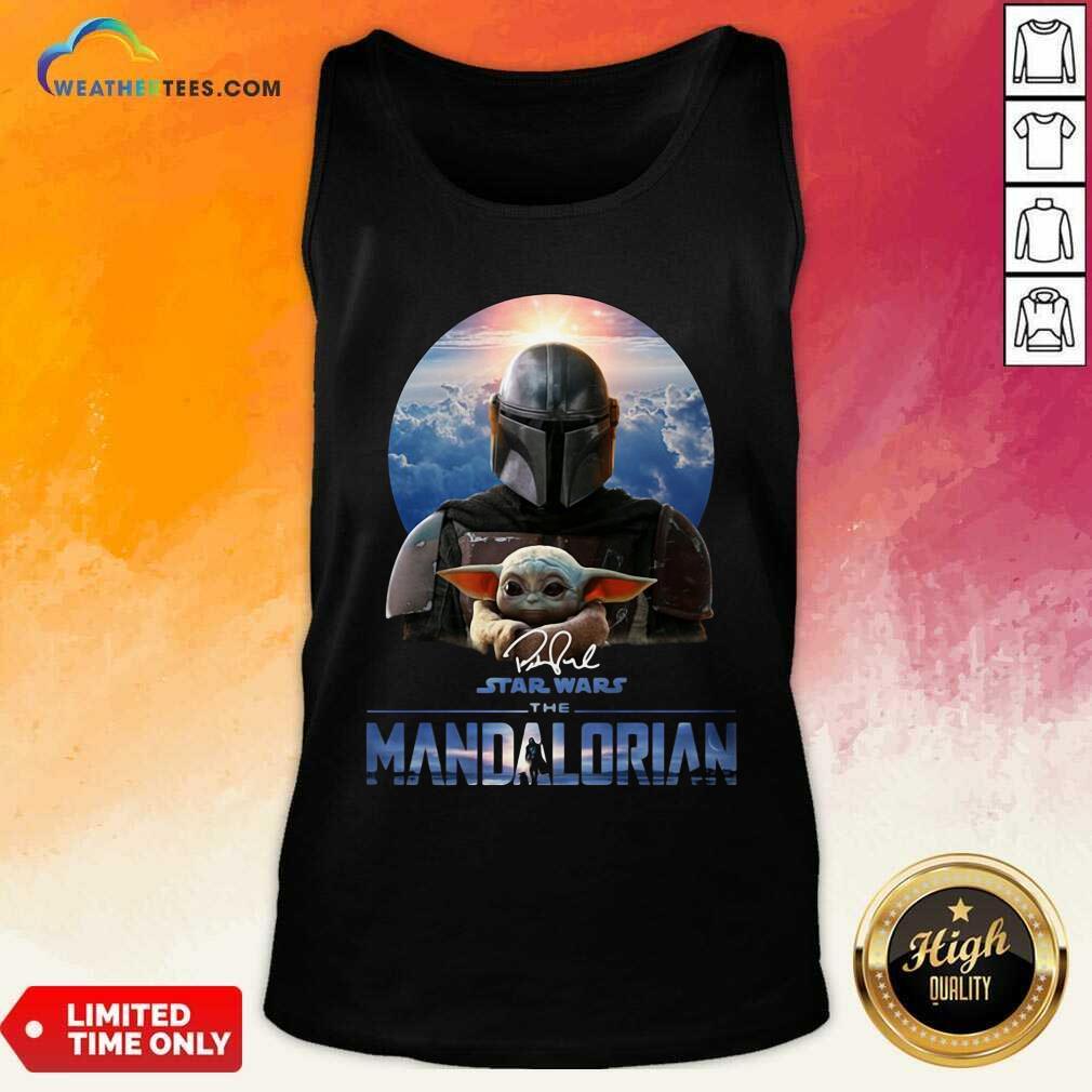 Star Wars The Mandalorian And Baby Yoda Signature Tank Top - Design By Weathertees.com
