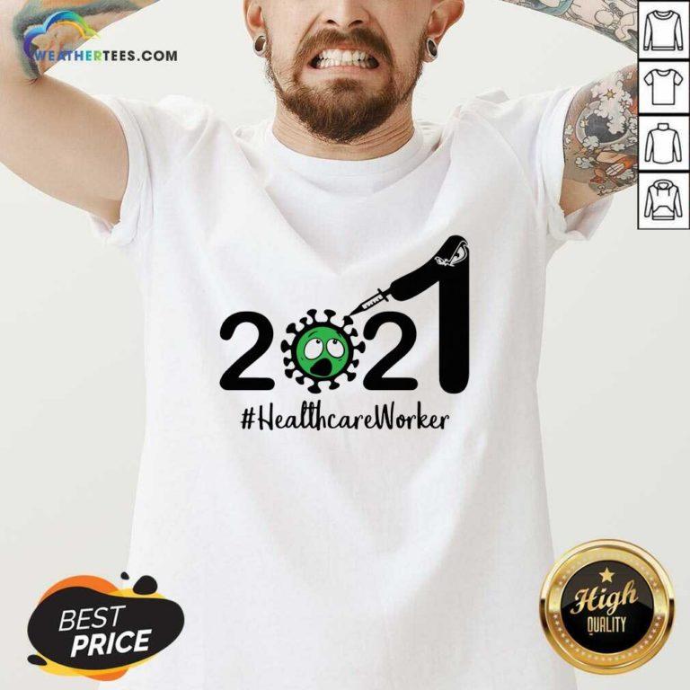 2021 Coronavirus #Healthcare Worker V-neck - Design By Weathertees.com
