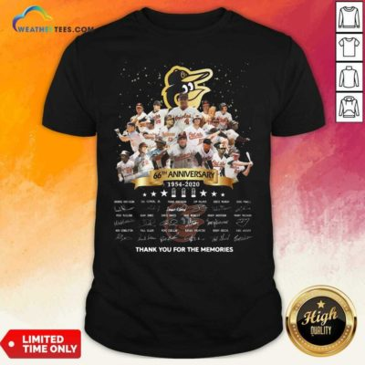 Baltimore Orioles 66th Anniversary 1954 2020 Thank You For The Memories Signatures Shirt - Design By Weathertees.com