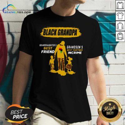 Black Grandpa Granddaughter's Best Friend Grandson' Best Partner In Crime V-neck - Design By Weathertees.com