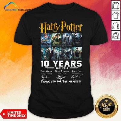 Harry Potter 10 Years 2001 2011 Thank You For The Memories Signatures Shirt - Design By Weathertees.com