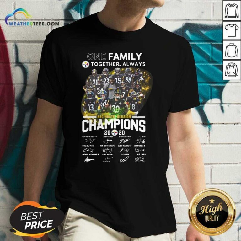 One Family Pittsburgh Steelers Together Always Nfc North Division Champions Signatures V-neck - Design By Weathertees.com