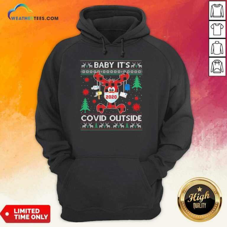 Reindeer Face Mask 2020 Baby It's Covid Outside Ugly Christmas Hoodie - Design By Weathertees.com