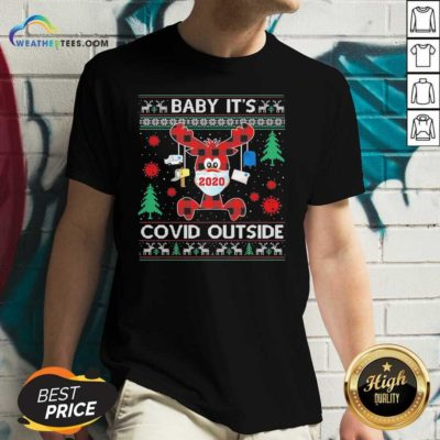 Reindeer Face Mask 2020 Baby It's Covid Outside Ugly Christmas V-neck - Design By Weathertees.com
