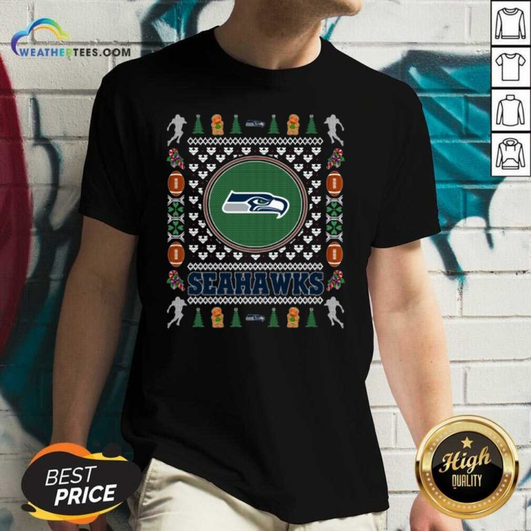 Nice Seattle Seahawks Merry Christmas V-neck - Design By Weathertees.com