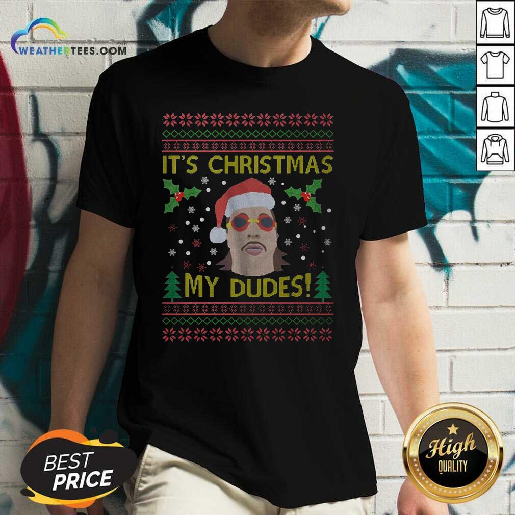 Jimmy Here It's Christmas My Dudes Ugly Christmas V-neck - Design By Weathertees.com