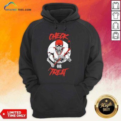 Skeleton Hockey Check Or Treat Hoodie - Design By Weathertees.com
