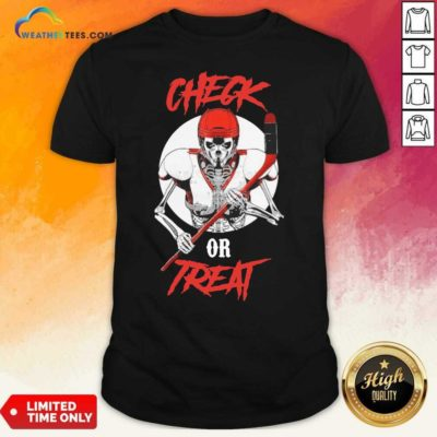 Skeleton Hockey Check Or Treat Shirt - Design By Weathertees.com