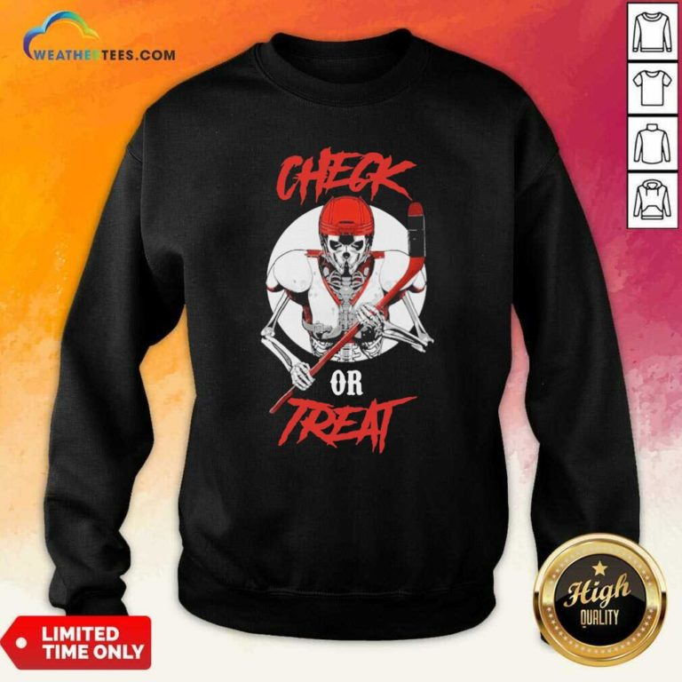 Skeleton Hockey Check Or Treat Sweatshirt - Design By Weathertees.com