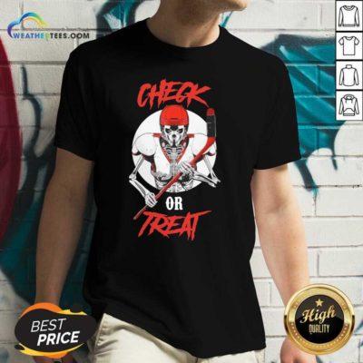 Skeleton Hockey Check Or Treat V-neck - Design By Weathertees.com