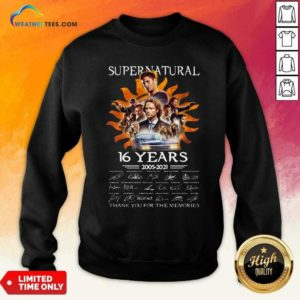 Supernatural 16 Years 2005 2021 Thank You For The Memories Signatures Sweatshirt - Design By Weathertees.com